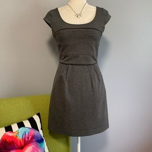 BCBGMaxAzria Grey Fit & Flare Mini Dress B1